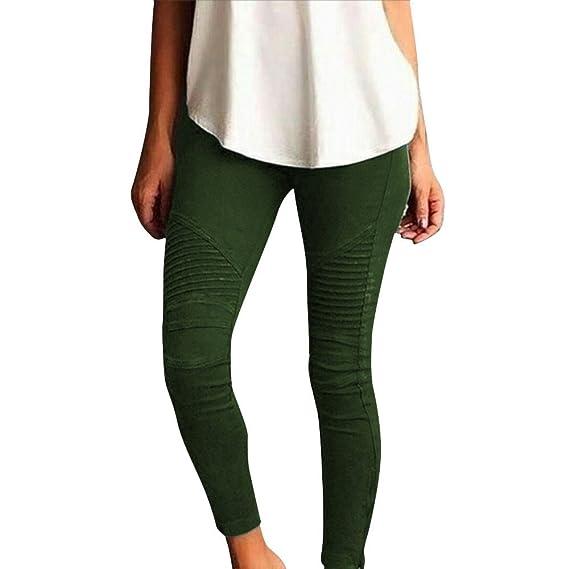1472f65dd5017 SANFASHION Pantalons Femme Taille Haute Pantalon Slim Skinny Stretch Legging  Hiver Chic (Amry Green,