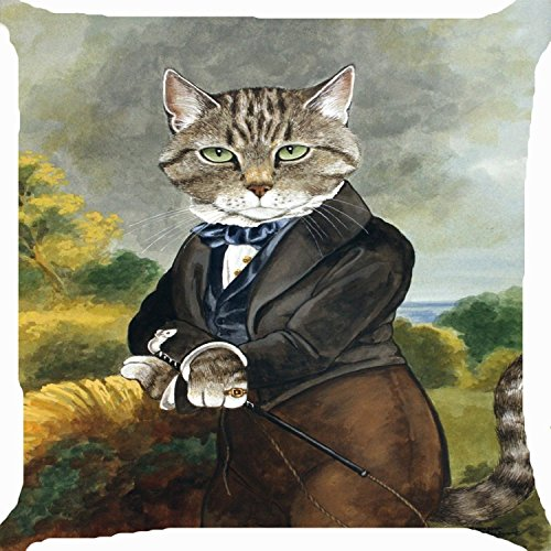 Cushion Cover Throw Pillow Case 18 Inch Retro Vintage Victorian Cat Boy Ride Horse Cute Kitty Image Zipper