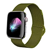 HILIMNY Compatible for Apple Watch Band 38mm 40mm 42mm 44mm, Stainless Steel Mesh Milanese Sport Wristband Loop with Adjustable Magnet Clasp for iWatch Series 1/2/3/4,Green