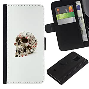 iKiki Tech / Cartera Funda Carcasa - Poker Cards Skull Gambling Las Vegas - Samsung Galaxy S5 Mini, SM-G800, NOT S5 REGULAR!
