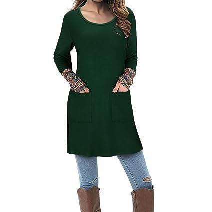 Mujer blusa otoño,Sonnena ❤ Blusa de manga larga para mujer con bolsillo Blusa