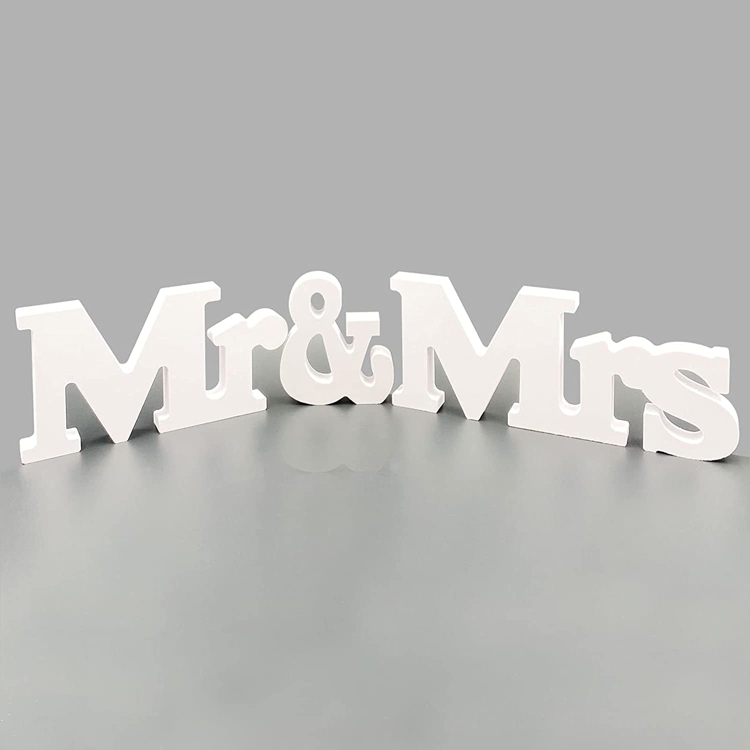 Mr & Mrs Wedding Sign for Table Decoration Photo Props,Party Table,Top Dinner,Rustic Wedding Decorations (White)