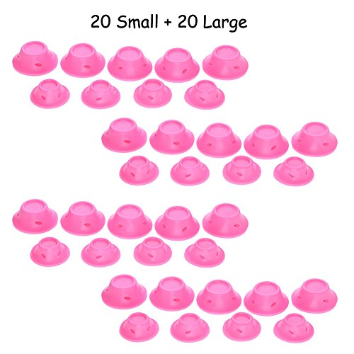 ForUBeauty Magic Hair Care Roller Sets No Clip No Heat Silicone Soft Hair Style Curlers 20 Large + 20 Small
