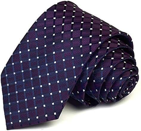 Allbebe Men's Classic Polka Dot Purple Jacquard Woven Silk Tie Necktie