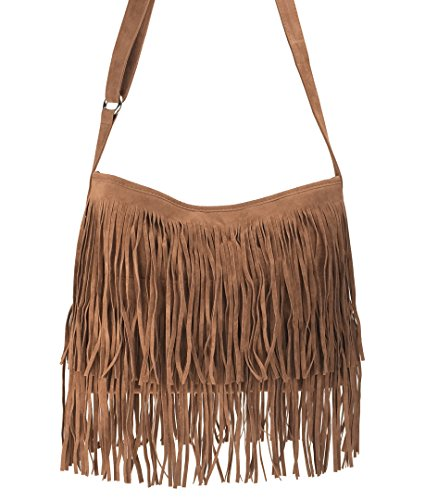 Brown Suede Fringe Crossbody Bag - 3