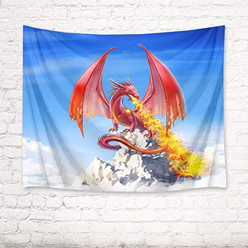 HVEST Dinosaur Tapestry Winged Dragon with Flame on Mountain Wall Hanging Blue Sky Tapestries for Kids Bedroom Living Room Dorm Wall Decor Baby Birthday Party Backdrop,80Wx60H inches