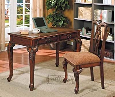 2pc Home Office Writing Desk & Side Chair Set