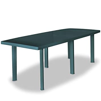 vidaXL Table de Jardin 210x96x72 cm Plastique Vert Terrasse Patio Balcon