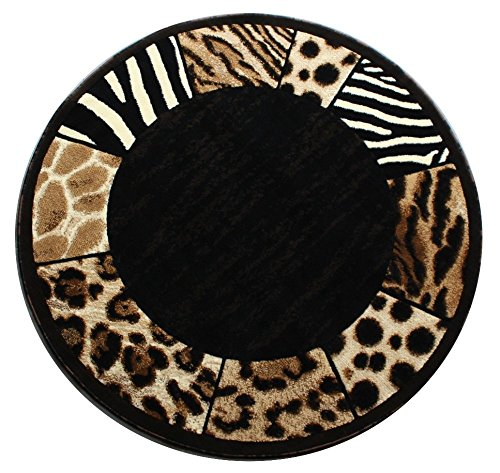 Modern Animal Print, Round Area Rug, Design S 73 Black (6 Feet 8 Inch X 6 Feet 8 Inch) Round by Skinz