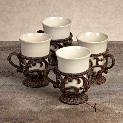 Cream Mug w/ Metal Holder (Set-4)