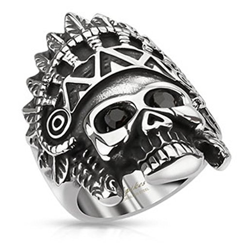 Apache Headress Skull with Black Gemmed Eyes Wide Cast Ring Stainless Steel -