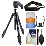 """Manfrotto 61"""" Compact Action Aluminum Tripod & Joystick Head & Case (Black) with Strap + Diffuser Filter Set + Kit"""