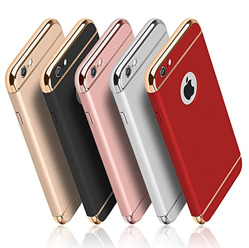 iPhone 6 6S case, iBarbe Shockproof Scratch Protective Rubber Rugged Slim PC Hard Plastic 3 in 1 Case Cover (4.7 inches)-RoseGold