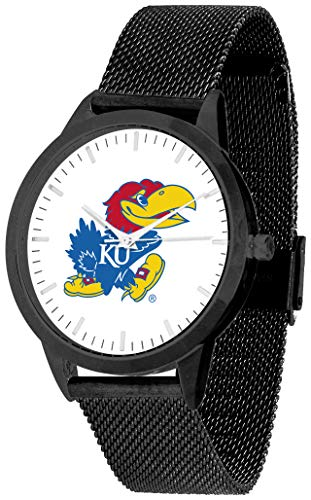 - Kansas Jayhawk - Mesh Statement Watch - Black Band - Black Dial