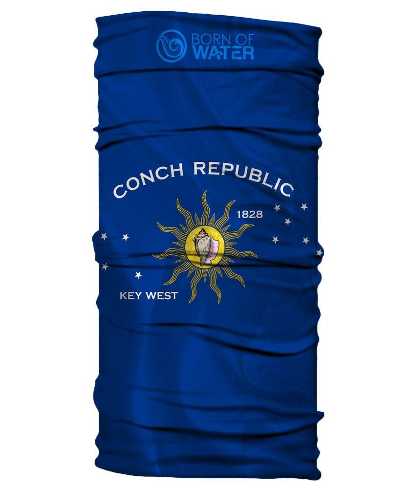 Born of Water Neck Gaiter: Conch Republic Flag: Fishing Face Mask Shield UV Sun Protection