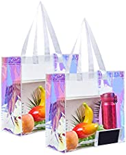 Eland Clear Tote Bag, 2-Pack Stadium Approved Hologram Clear Bag, Great for Sports Games, Work, Security Trave