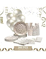 VISIONOLOGY Party Supplies 260 Pcs - 100 Disposable Plates, 50 Paper Napkins Bulk, 50 Paper Straws, 50 Paper Cups,10 Party Balloons - Baby Shower and Birthday Party Supplies