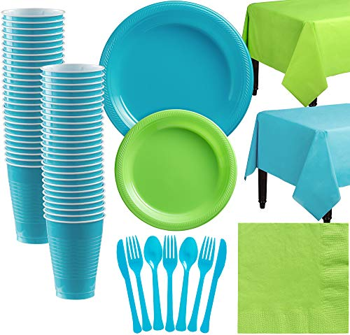 Party City Caribbean Blue and Kiwi Green Plastic Tableware Kit for 50 Guests, 487 Pieces, Includes Plates, Napkins, Cups]()
