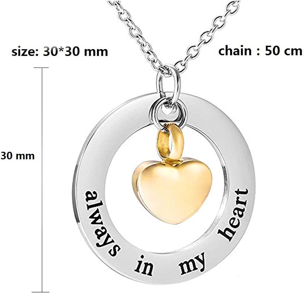 misyou Cremation Urn Ashes Necklace Always in My Heart Stainless Steel Pet Dog Paw Keepsake Waterproof Memorial Pendant