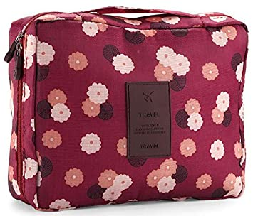 08c188c14465 Toiletry Bag Multifunction Cosmetic Bag Toiletry Bag Bathroom Organizer  Carry On Case (Wine Flower)