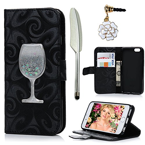 iPhone 6 Case,iPhone 6S Case, MOLLYCOOCLE Stand Wallet Premium PU Leather Kickstand with Handmade Flowing Glitter Liquid Quicksand Wine Cup Magnetic P…