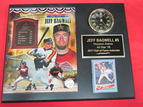 Astros Jeff Bagwell Collectors Clock Plaque w/8x10 Photo and Card