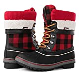 Globalwin Women's Waterproof Winter Snow Boots (8 D(M) US Women's, Black/Red1738)