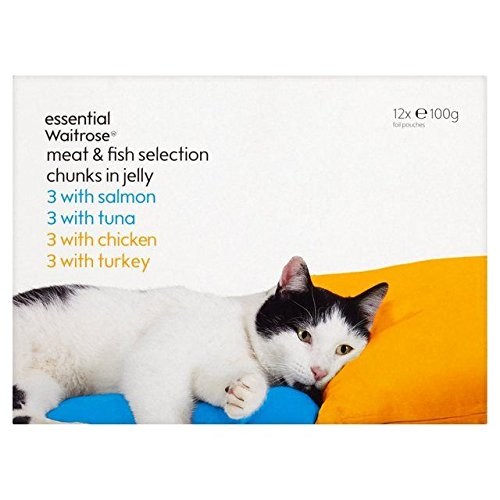 Waitrose Meat & Fish Selection Cat Pouches Essential 12 x 100g (Pack of 6) by Waitrose