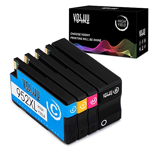 Voshy 952XL Remanufactured Ink Cartridges Replacement for HP 952 XL Compatible with OfficeJet Pro 8710 8720 8740 7740 7720 8216 8210 8730 8715 Printer (BK/C/M/Y, 4-Pack)