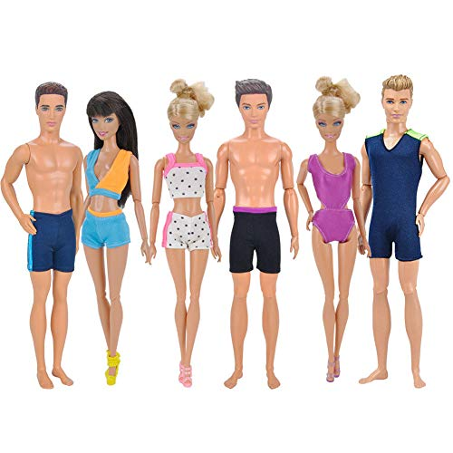elegantstunning Doll Clothes Handmade Swimwear Beach Bikini Bathing Swimsuits Outfits for 32CM Ken and 29CM Doll 6Pcs/ Set -