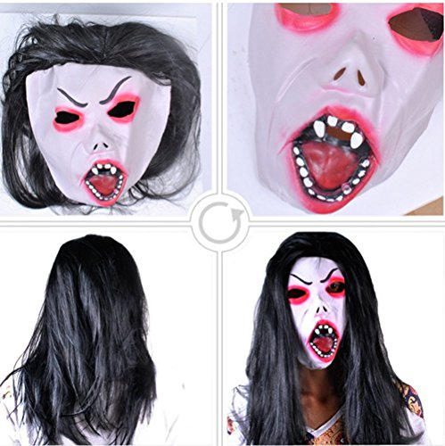 Sadako Costume (mywaxberry Halloween festival costume party Hell the count Sadako masks terrorist long hair)