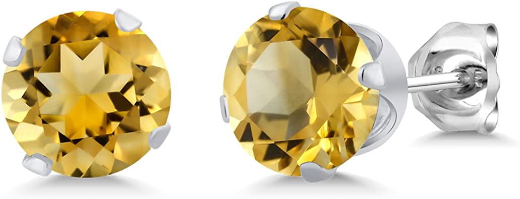 2.00 Ct Oval Natural Yellow Citrine 925 Sterling Silver Stud Birthstone Earrings