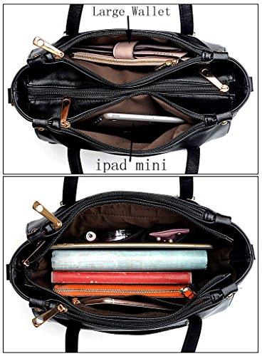 Leather Bags Purse Tote Bag Pieces Women UTO Shoulder Wallet Strap Black PU Set Handbag 2 W0vqH4