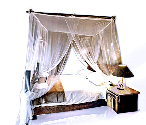 Jumbo Mosquito Netting Canopy for Queen/King Size Bed. Super-Thin Mesh Net Lets Breeze In and Bugs Out. Protect Your Sleep From Mosquitoes in an Exotic Nets Bedroom Decor. from Basik Nature