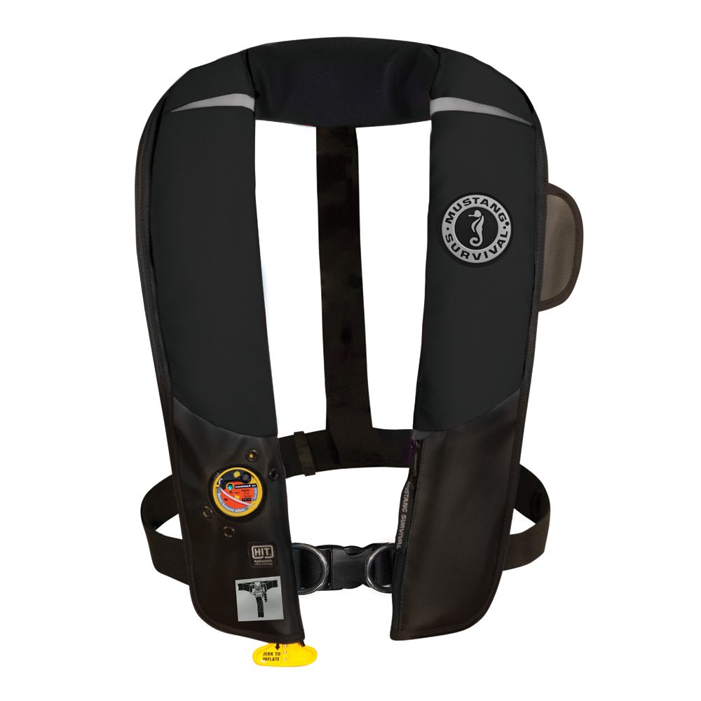 Mustang Survival Corp Inflatable PFD with HIT (Auto Hydrostatic) with Harness, Black