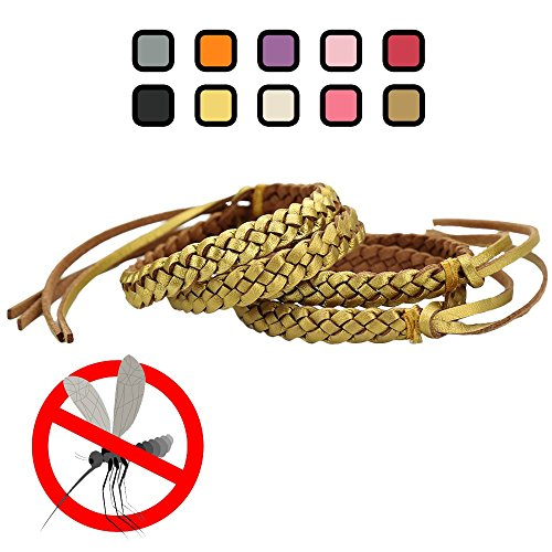 Original Kinven Mosquito Insect Repellent Bracelet Waterproof Natural DEET FREE Insect Repellent Bands, Anti Mosquito Protection Outdoor & Indoor, Adults & Kids, 4 bracelets, in - Free Gold Sw