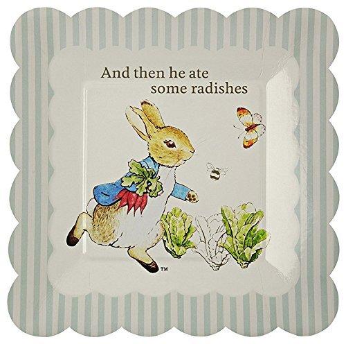 Meri Meri Party Plates 45-1184, Peter Rabbit Scallop Edge - Small, Set of 12