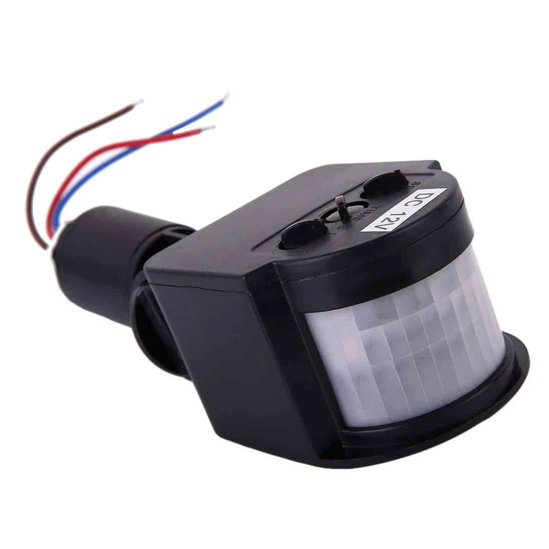 ToGames Negro y gris autom/ático 12M PIR12V PIR85-265V Seguridad PIR Detector de sensor de movimiento infrarrojo Luz LED de pared Exterior RF 140 grados