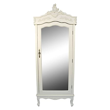 Merveilleux French Cream Chateau Shabby Chic Mirrored Single Door Armoire Wardrobe