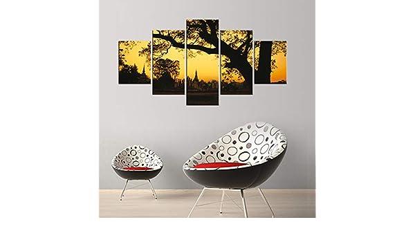 adgkitb canvas 5 Piezas Lienzo Pintura impresión Puesta de Sol ...