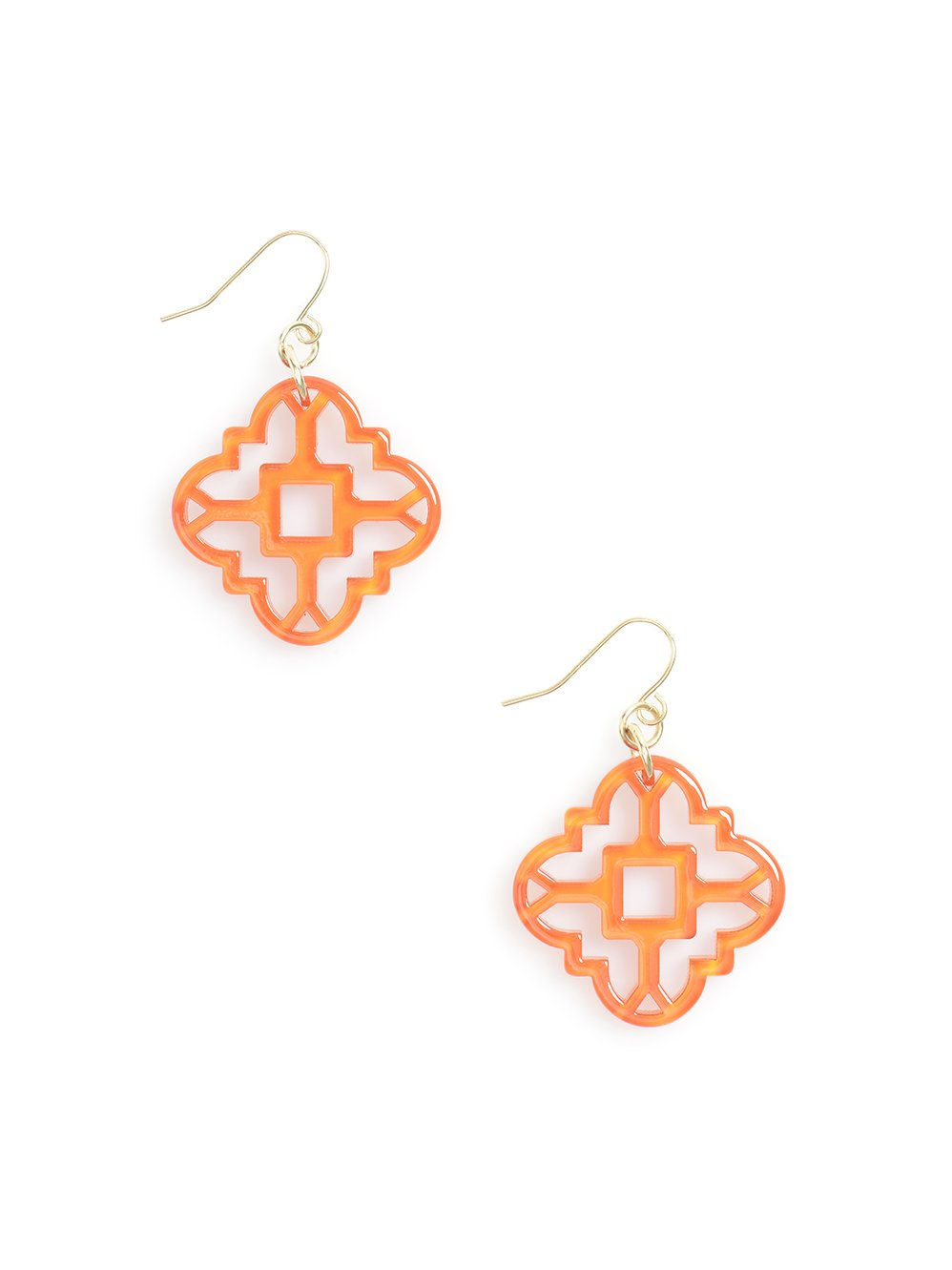 ZENZII Modern Mosaic Resin Earring (Bright Orange)