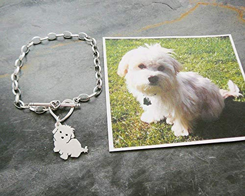 - Custom Dog Chain Bracelet, 925 Sterling TaGette Silhouette made from your pet photo memorial Jewelry