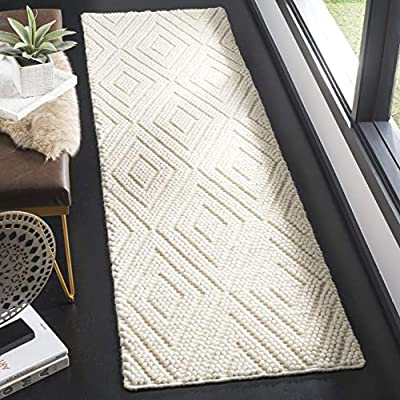 """Safavieh Natura Collection NAT623A Hand-Woven Ivory Wool Runner (2'3"""" x 8') - The high-quality Wool pile adds durability and longevity to these rugs The handmade Construction of this rug will Ensure that it will be a favorite for a long time The modern style of this rug will give your room a contemporary accent - runner-rugs, entryway-furniture-decor, entryway-laundry-room - 51Hl77aweiL. SS400  -"""