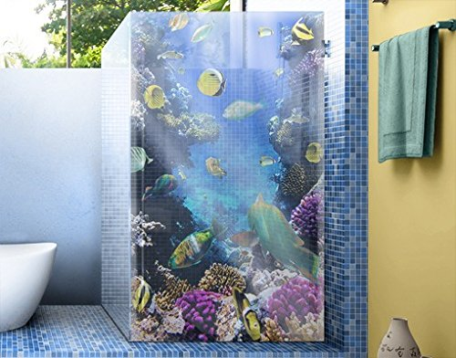 Window Mural Underwater Dreams window sticker window film window tattoo glass sticker window art window décor window decoration Size: 85 x 56.7 inches by PPS. Imaging