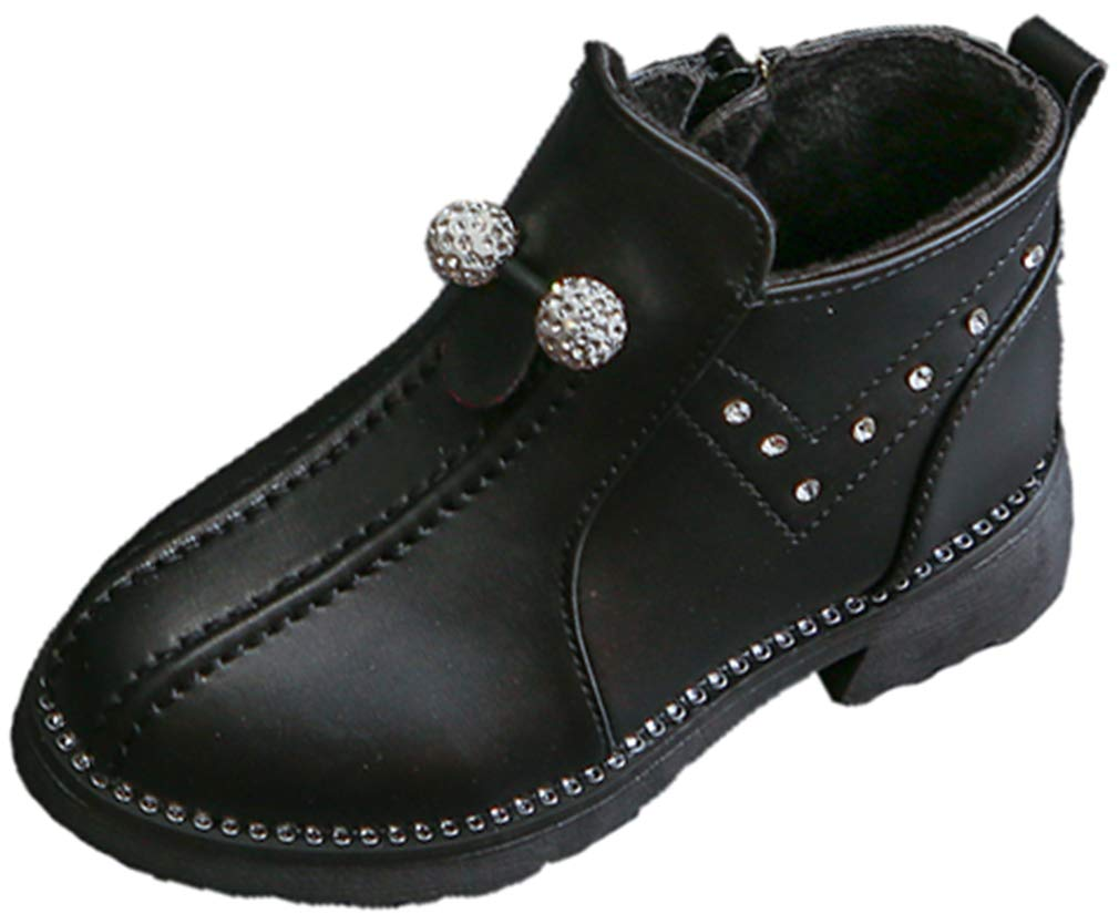 VECJUNIA Girl's Fashion Ankle Martin Boots with Rhinestones Nonslip Shoes (Black, 9.5 M US Toddler)