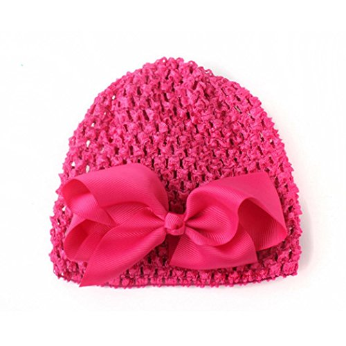EKIMI Girl Boy Infant Toddler Knitting Wool Crochet Hat Soft Hat Cap (Hot Pink) (Free Crochet Baby Layettes)