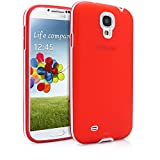 Galaxy S4 Case, MagicMobile Ultimate Thin Protective Case for Samsung Galaxy S4 Smooth Slim Fit TPU Layer Defender Cover with White [Bumper Frame] Armor Case for Galaxy S4 Impact Resistant, Red
