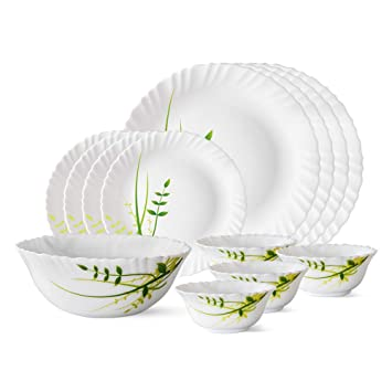 Larah by Borosil Green Herbs Opalware Dinner Set, 13-Pieces, White