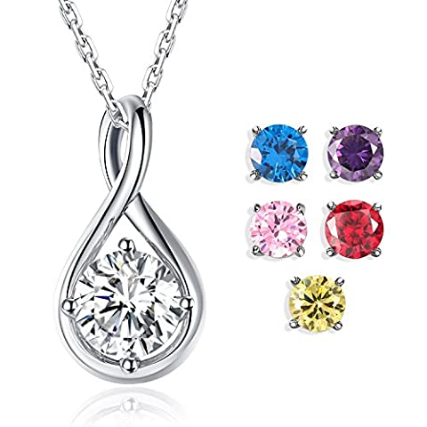 """FORUISTON """"Unstoppable Love"""" Sterling Silver Infinity Pendant Necklace Set with Six Replaceable Cubic Zirconia Birthstones, - Cubic Zirconia Pendant Jewelry"""