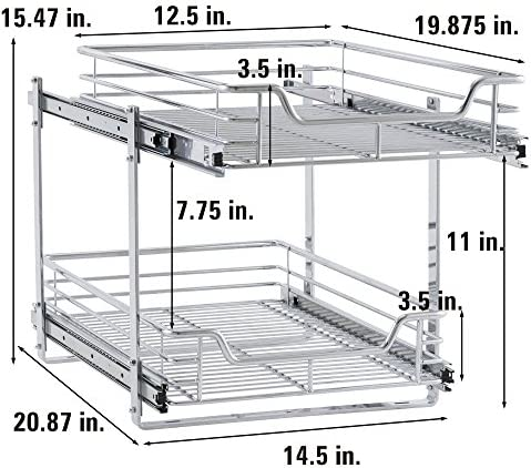 """51Hl8RgJoqL. AC Household Essentials C21521-1 Glidez Dual 2-Tier Sliding Cabinet Organizer, 14.5"""" Wide, Chrome    This sliding under cabinet organizer has 2 independently sliding tiers and is 14.5""""W x 21""""D x 15.5""""H. Household Essentials glidez dual slide under cabinet sliding organizers attach to the bottom of kitchen and bathroom cabinets to quickly bring the back of the cabinet in reach. Their 2-tier of baskets slide in and out of the cabinet independently, making the bottom basket easier than ever to get into. These industrial organizers are made from premium chromed steel, with thicker, stronger wire than the competition. The sturdy vertical glides 2 inches tall and support up to 88 lbs. Glidez organizers create a custom kitchen with organization that fits your cabinets' width, depth, and height. Organizers slide all the way out of the cabinet, clearing the door completely when installed as directed. This means less bending and reaching to get to whatever you store in your cabinets. Perfect for kitchen storage, bathroom, storage, and even closets and pantries (glidez organizers can attach to commercial shelving with cb2000-6 brackets, sold separately) tailor your cabinet space and bring the back of the cabinet to you with glidez under cabinet storage and organization. Dual slide glidez under cabinet organizers are 15.5 inches high and 21 inches deep. They are available in 11.5 and 14.5 inch wide options."""